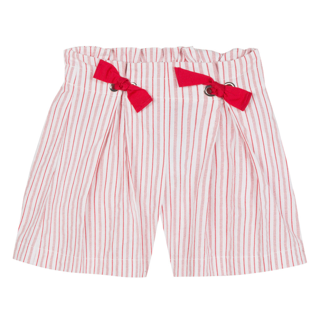 Girls Red Striped Shorts