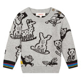 Baby Boys Knit Animal Printed Sweater