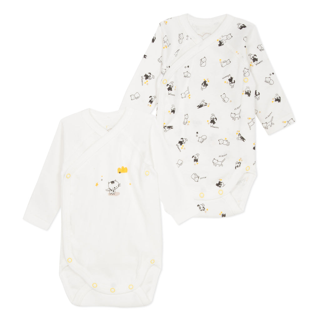 Set of 2 Dogs and Cats Printed Bodysuits