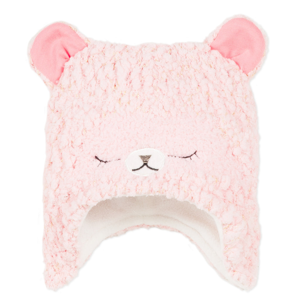 Pink Knit Hat with 3D Ears