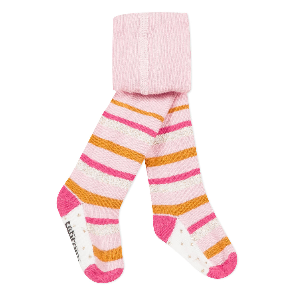 Baby Girls Pink Tights with Multicolored Stripes