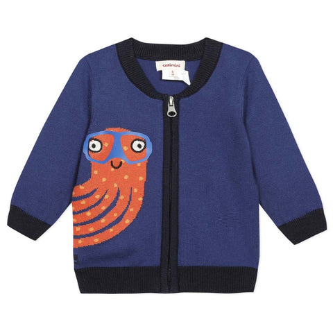 Boys Octopus Zipped Cardigan