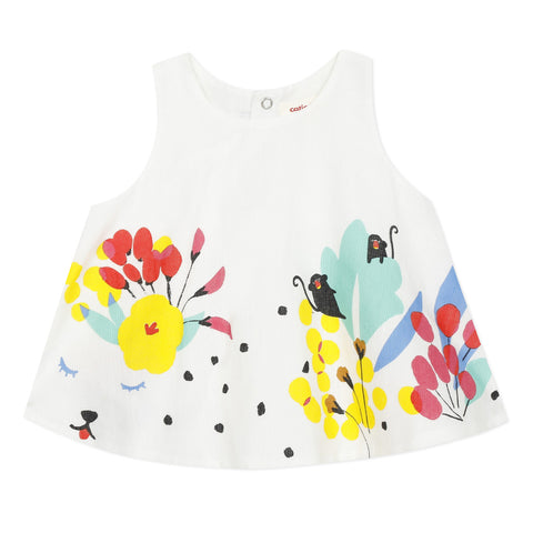 Girls White Safari Sleeveless Print Top