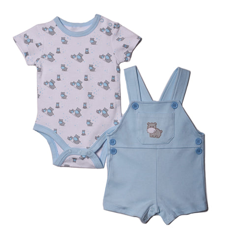 Baby Boys Hippo Bodysuit & Coverall Set