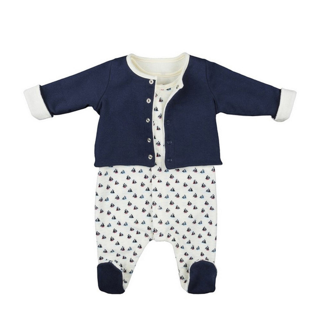 Baby Boy Boat Print Footie and Jacket Set