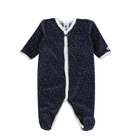 Baby Velour Front Snap Star Print Footie