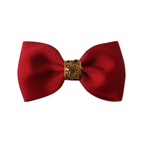 Girls Small Bowtie Bow - Christmas Glitter