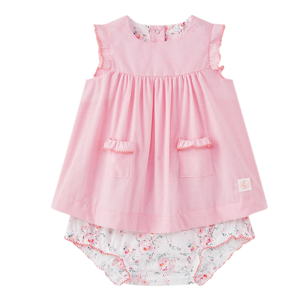 Baby Girls Dress with Floral Bloomers Set