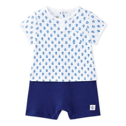 Baby Boys Blue Print Top with Attached Shorts