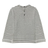 Baby Boys Long Sleeve Striped Tee with Fish Graphic
