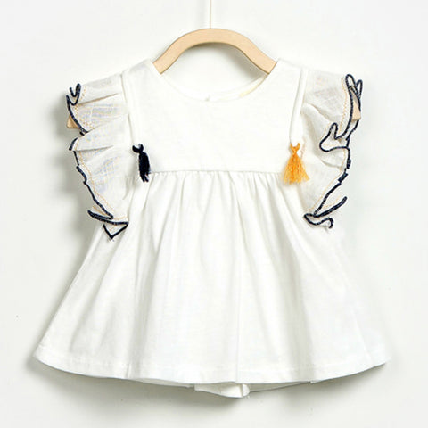 Baby Girls White Top with Tassel
