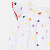 Baby Girls Embroidery Stars All-In-One
