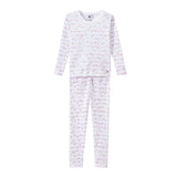 Girl's Pajamas with Stripes and Gold Polka Dot