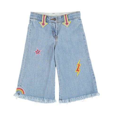 May Girls Denim Cropped Pants with Frayed Hem