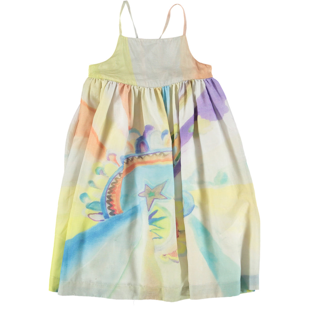 Pear Cross-Back Watercolor Print Dress