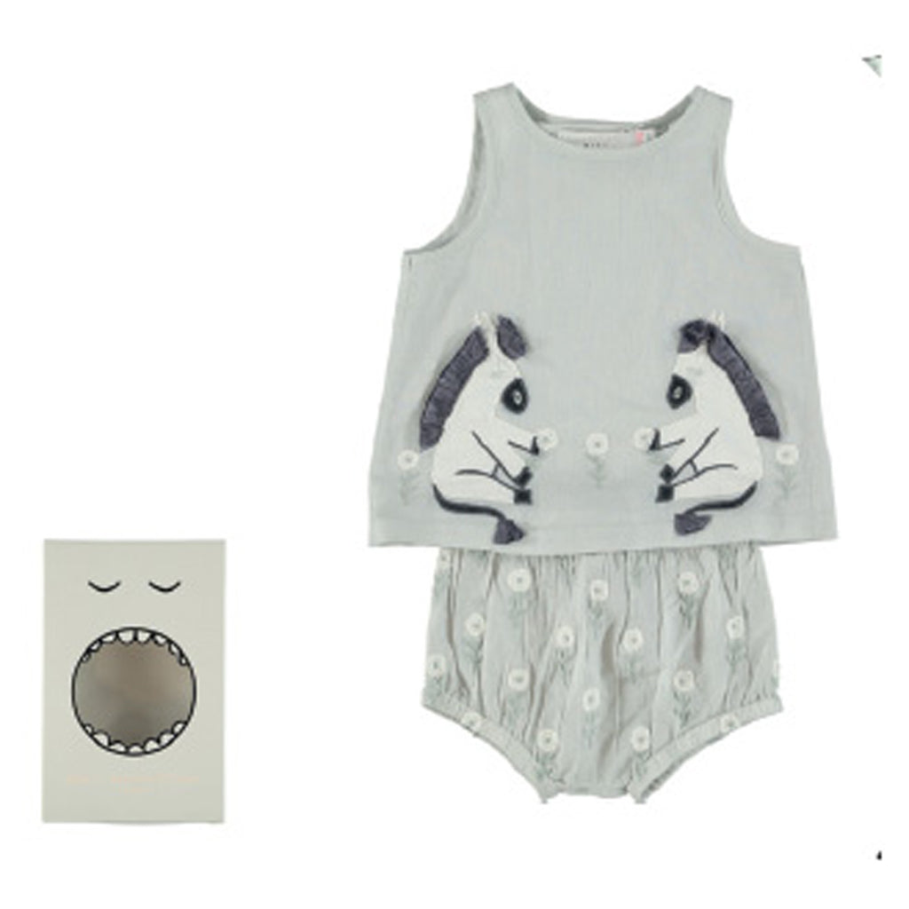 Trixie Baby Girl Donkey Embroidered Top + Bloomer Set