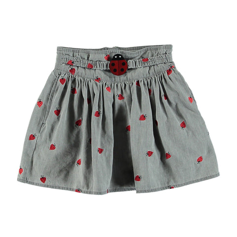 Girls Ladybug Embroidered Skirt