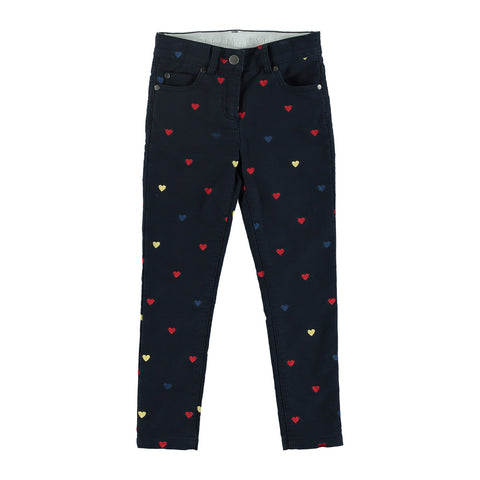 Girls Jeans with Embroidered Multicolor Hearts