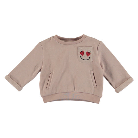 Baby Girl Sweatshirt with Ladybug Pocket