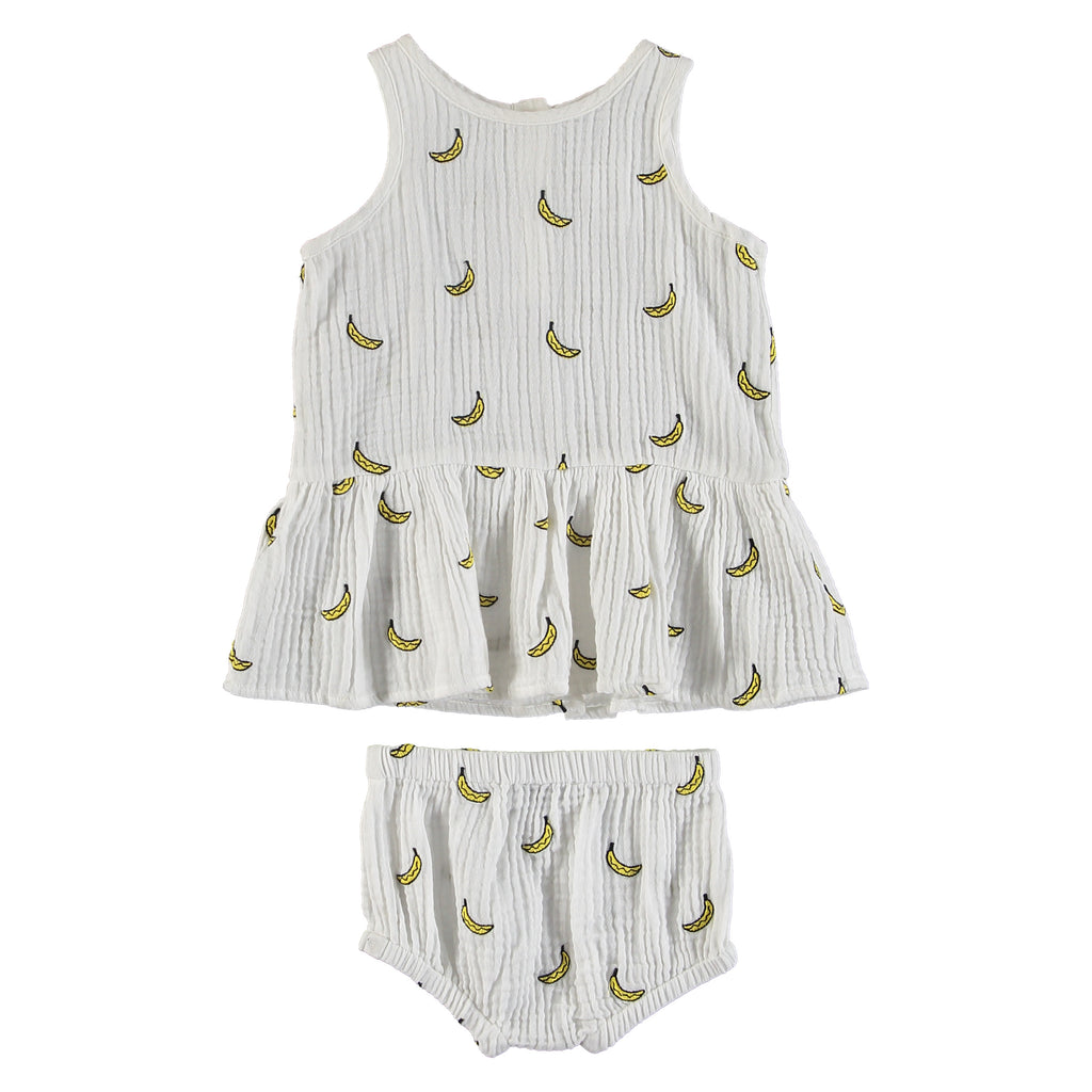 Baby Girls Embroidered Banana Dress and Bloomers Set