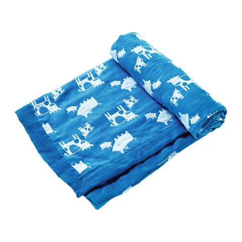 Jacquard Blanket - Farm Animal Blue