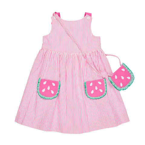 Girls Seersucker Sundress with Watermelon Pockets and Watermelon Purse