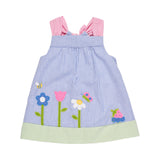 Baby Girls Seersucker Dress with Flower Garden Appliques