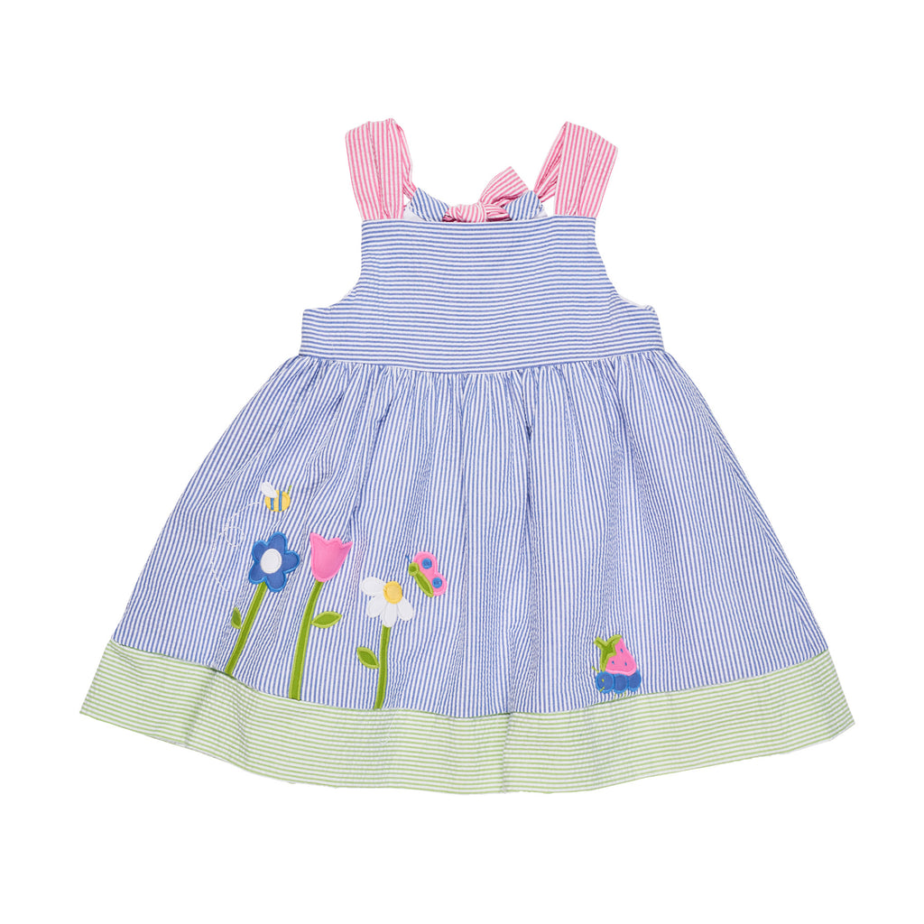 Seersucker Dress with Flower Garden Applique