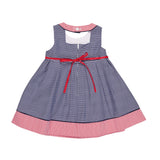 Girls Stripe Dress with Flower Appliques