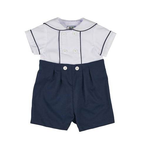 Baby Boy Navy Button-on Suit