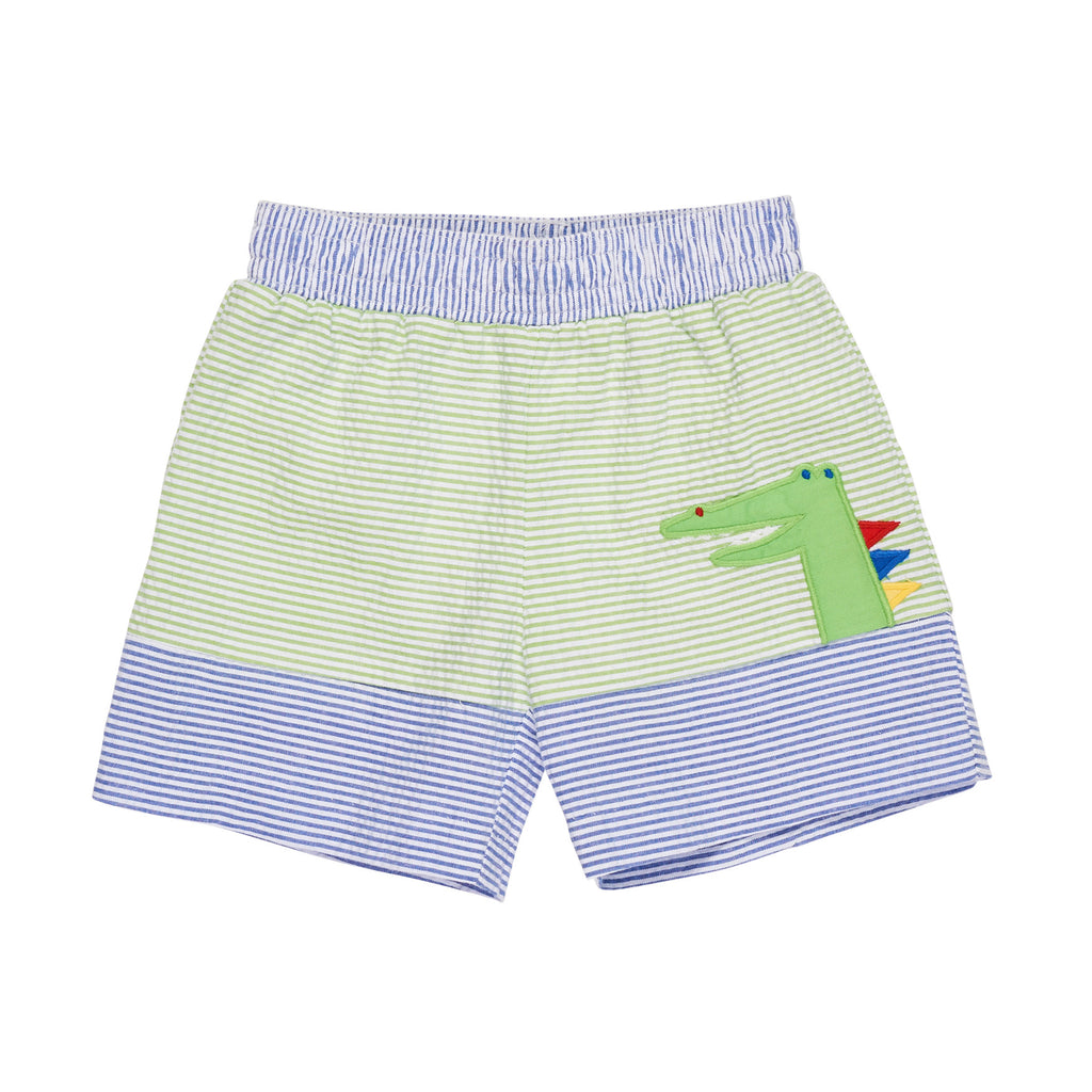 Seersucker Swim Trunk with Alligator Applique