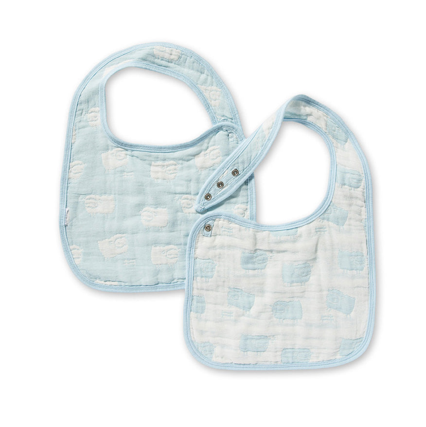 Jacquard Bibs Set - Sheep Blue