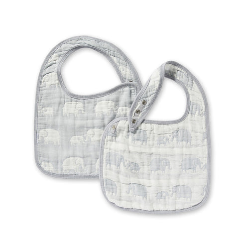 Jacquard Bibs Set - Elephant Grey
