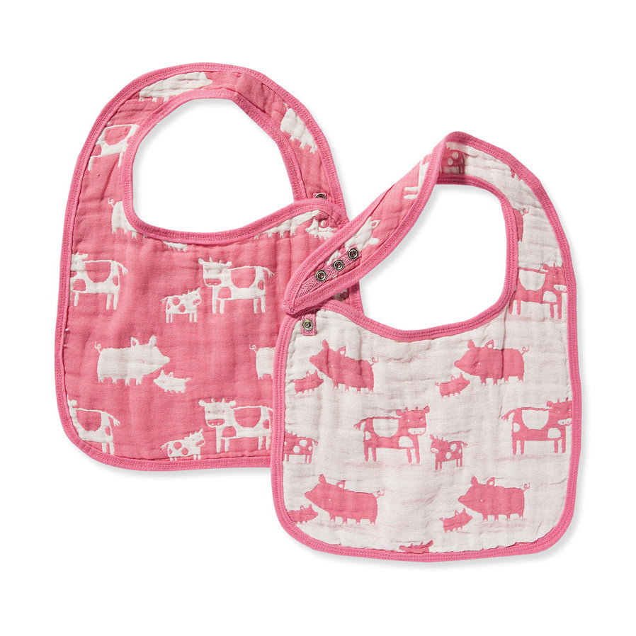 Jacquard Bibs Set - Farm Animal Pink
