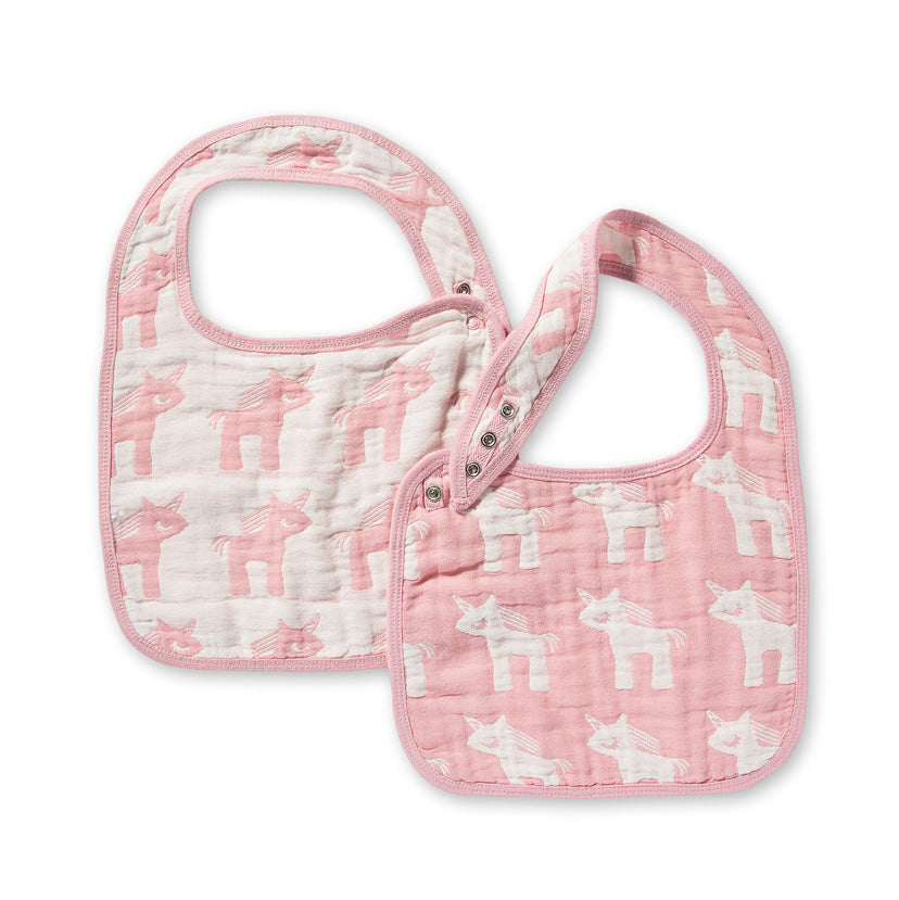 Jacquard Bibs Set - Unicorn Pink