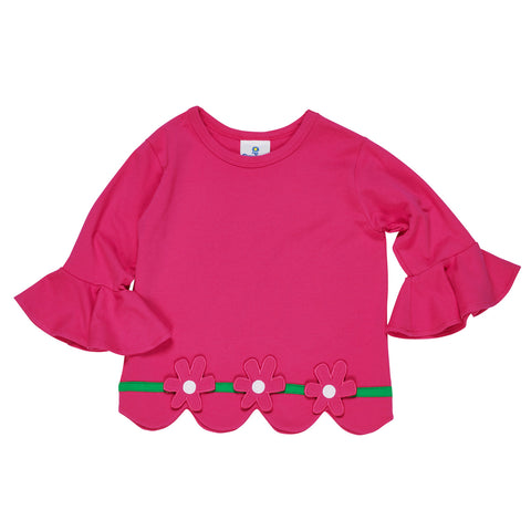 Girls Bright Pink Top with Flowers