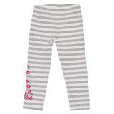 Girls Heather Grey Stripe Leggings with Embroidered Flowers