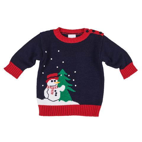Navy Snowman Sweater