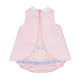 Baby Girls Pink Pique Skirted Romper with Applique Flowers