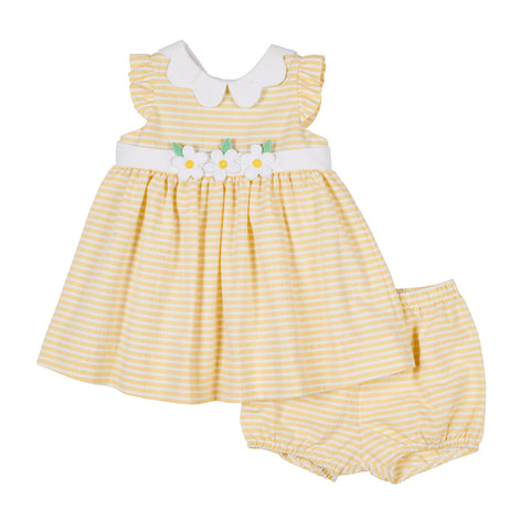 Baby Girls Yellow Raised Stripe Dress and Bloomer with Flowers
