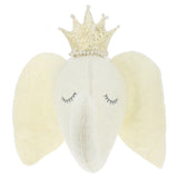 Sleepy Elephant Head With Crown Wall Mount