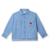 Girls Chambray Shirt with Embroidery Detail
