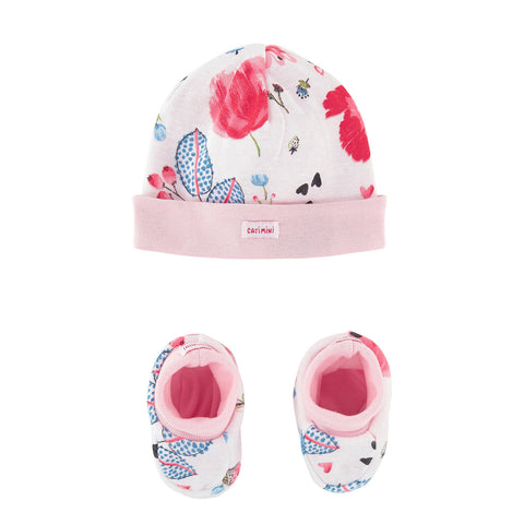 Bonnet + Printed Slippers Set