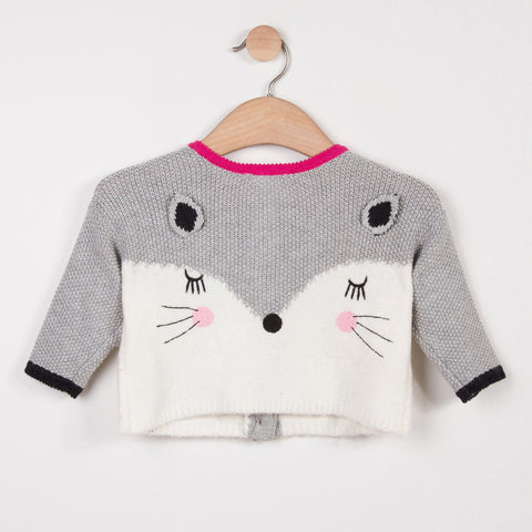 Reversible Woolly Cardigan with Charming Design