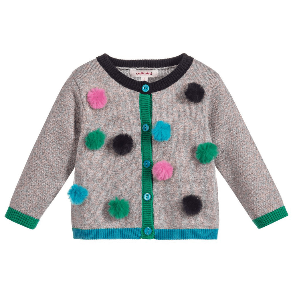 Glossy Knit Cardigan with Fur Pompoms