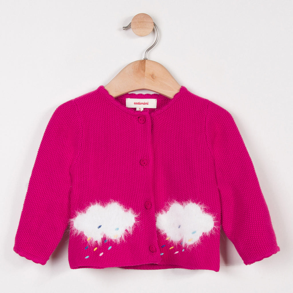 Fine Pink Cardigan with Blue Cloud Patterns
