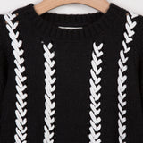 Chunky Knit Sweater with Embroidered Pattern