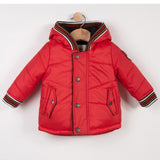 Baby Boys Red Coated Hooded Parka