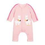 Baby Girls Fleece Jumpsuit with Velvet Llama Patches
