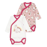 Baby Girls Set of 2 Llama Printed Bodysuits
